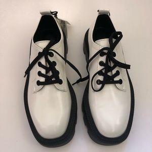 Zara White Leather Platform Lace Up Shoes 36 New!